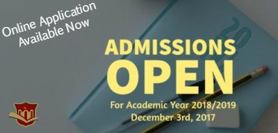 New Admissions Open December 3rd, 2017